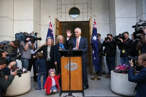 Malcolm Turnbull with his wife, Lucy, daughter Daisy and grandchildren Alice and Jack during his farewell speech