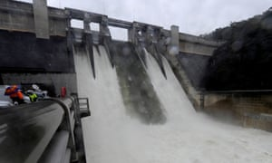 Warragamba Dam in Sydney's west, spilling over on 3 March, 2012. It could spill again by Sunday.