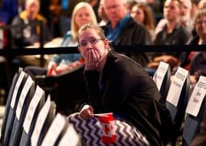 A Conservative Party supporter reacts as she watches results of Canada's federal election in Calgary, Alberta
