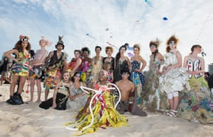 Photo by Deepak Nath Gupta. Hair by Jenna Yeates & David Rutherford. Makeup by Kerrie Jane Bailey. Shot on Bondi Beach during Festival of the Winds 2016. Outfits made from materials found on the beaches of Sydney & Los Angeles, CA