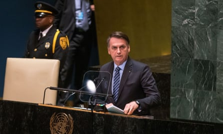 Jair Bolsonaro at the United Nations general assembly in New York City Tuesday.