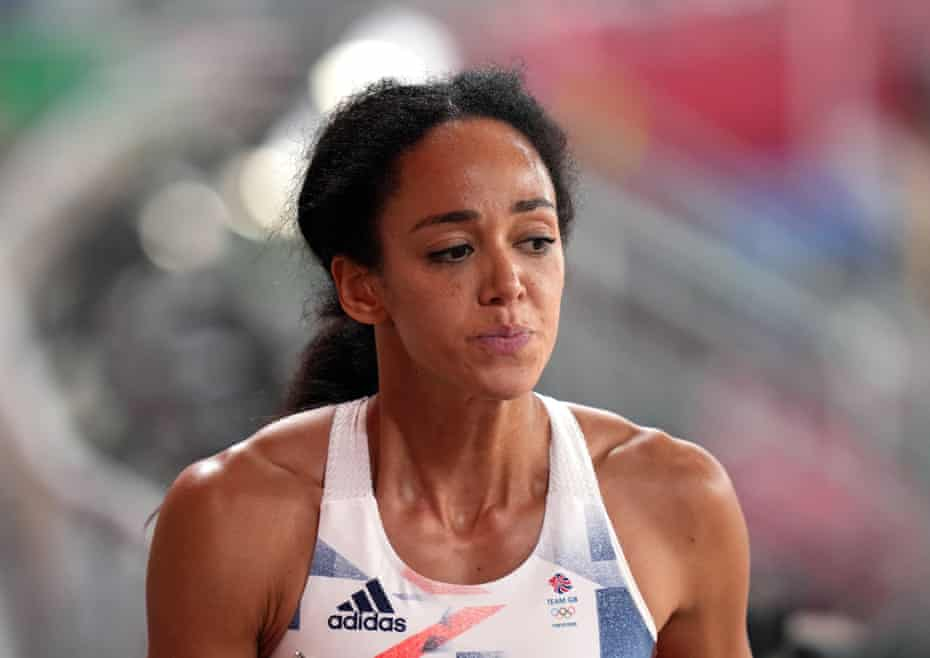 Katarina Johnson-Thompson after being injured in the 200m segment of the women's heptathlon in the Olympic Stadium