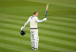 Sam Robson of Middlesex celebrates reaching his century