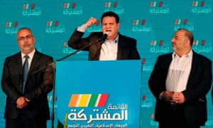 Head of the Joint List, Ayman Odeh, speaks in Israel's northern city of Shefa-Amr after polls closed on 2 March