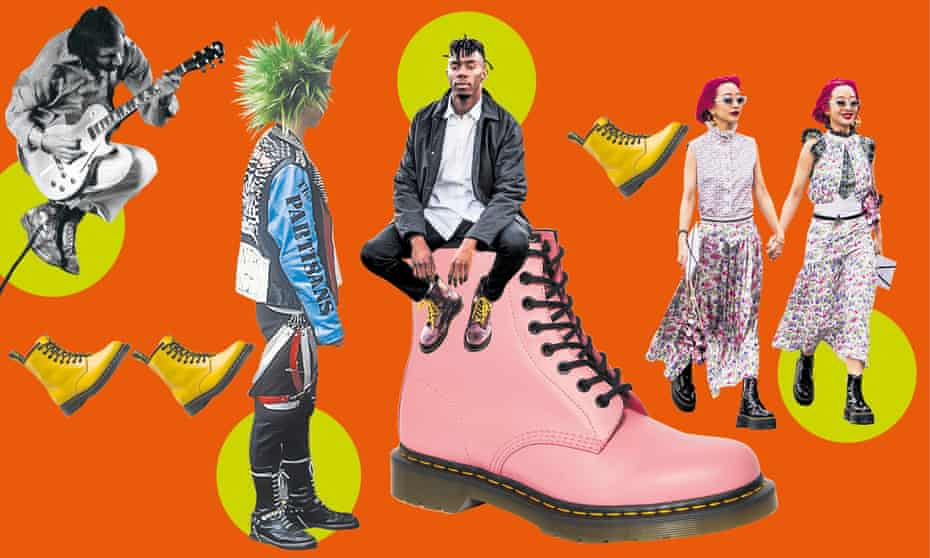 What the Dr ordered: (l-r) Pete Townshend; a punk wearing docs in 1983; the 1460 boot in smooth pink; a PR shot from 2019; and the Japanese music duo of twin sisters Ami and Aya Suzuki.