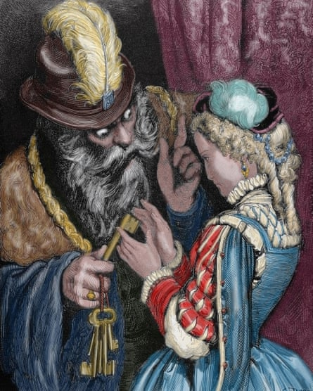 Gustave Dore's engraving (coloured) for Perrault's story of Bluebeard