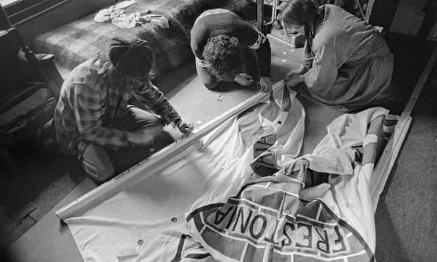 Frestonia make a banner ahead of an anti-nuclear weapons march.