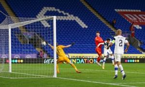 Kieffer Moore scores for Wales.