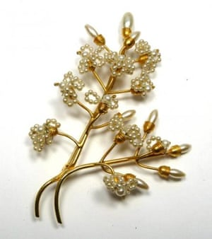 Shop for vintage accessories in antiques markets or charity shops. Brooch, £55, gillianhorsup.com
