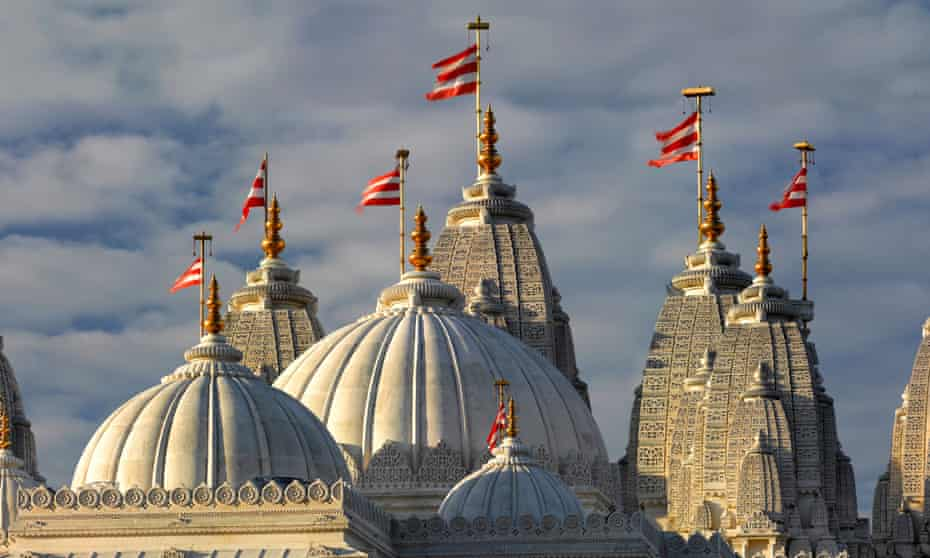 The BAPS Shri Swaminarayan Mandir, AKA Neasden Temple, in north-west London.
