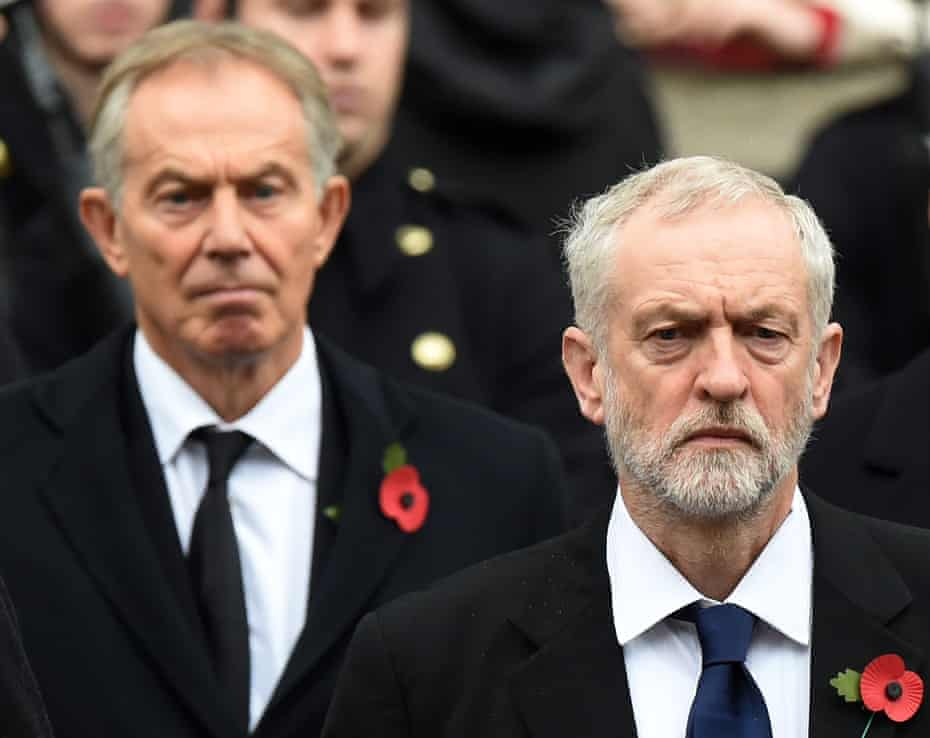Tony Blair and Jeremy Corbyn at the service of remembrance at the Cenotaph in November.