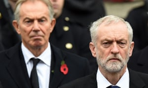 Former prime minister Tony Blair, left, and the Labour leader, Jeremy Corbyn, at the service of remembrance.