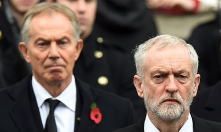 The two faces of Labour: Tony Blair and Jeremy Corbyn at the Service of Remembrance at the Cenotaph in November.