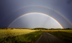 A double rainbow, over fields of crops, Hoxne, Suffolk.