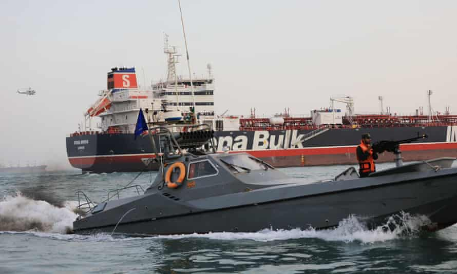 Iranian Revolutionary Guards patrolling the tanker Stena Impero in Bandar Abbas after it was seized in July.