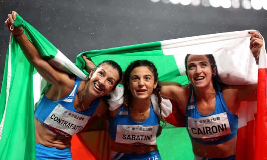 Monica Graziana Contrafatto, Ambra Sabatini and Martina Caironi took an Italian 1-2-3 in the T63 women's 100m. Sabatini won gold.