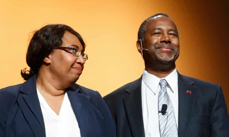 Ben Carson with wife Candy Carson as he officially launched his candidacy in Detroit in May.