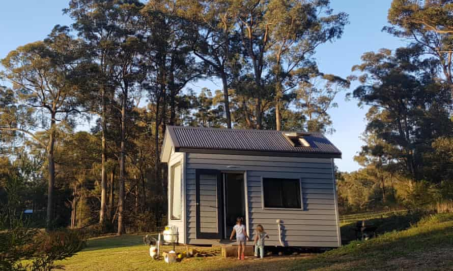 Celina Rebeiro's daughters run towards the tiny house in Kangaroo Valley