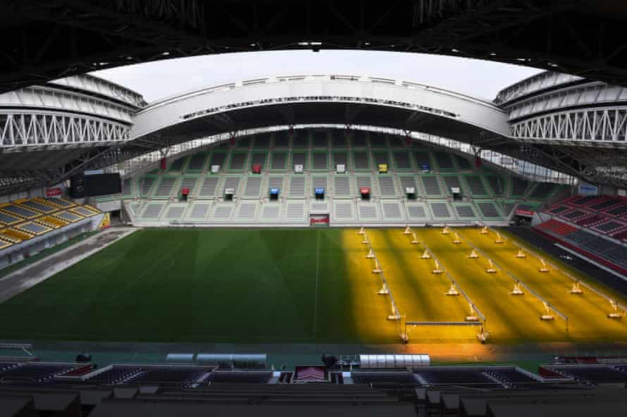 RUGBYU-WC-2019-STADIUMSThis picture taken on March 12, 2019 shows a general view of Kobe Misaki Stadium, one of the venues for the 2019 Rugby World Cup, in Kobe, Hyogo Prefecture. (Photo by Kazuhiro NOGI / AFP) (Photo credit should read KAZUHIRO NOGI/AFP/Getty Images)