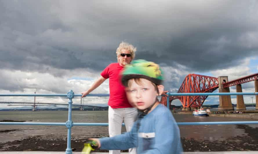 The author and young cyclist at Queensferry.