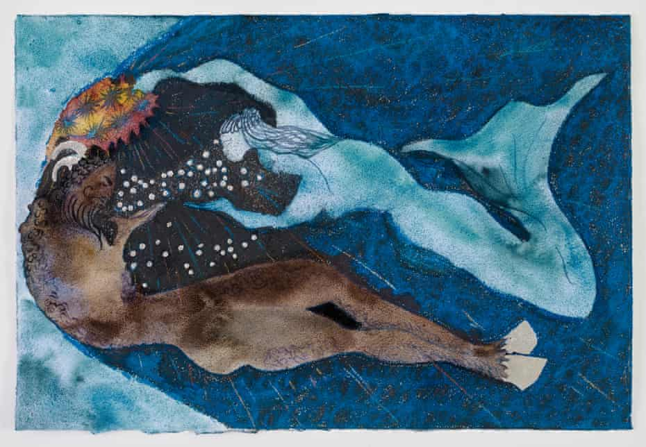 Detail from Chris Ofili's Crowning of a Satyr (Blue), 2021.