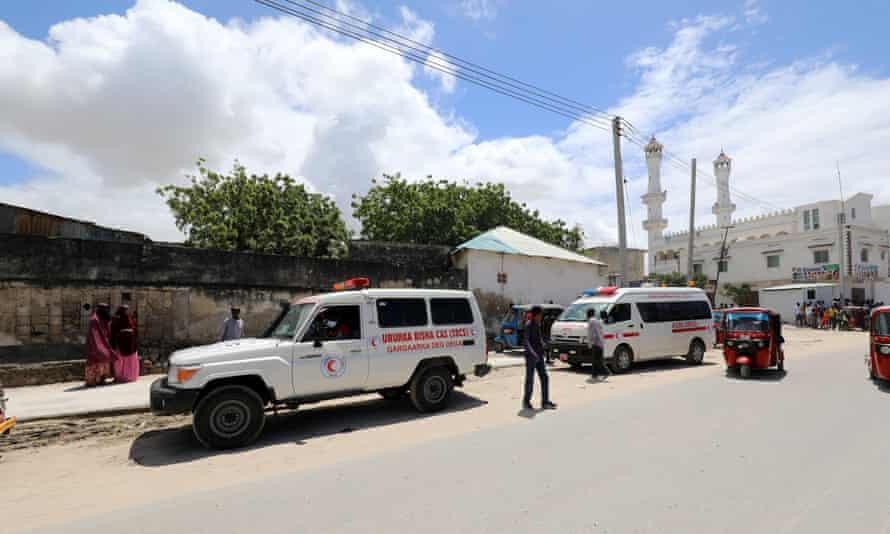 An ambulance near the blast site in Mogadishu's Warta-Nabadda district.