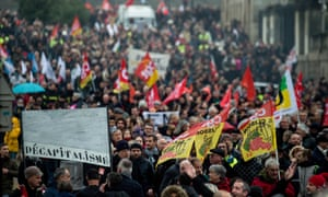 People protesting against pension reforms in Nantes, France, on Tuesday.