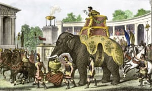 Hannibal on an elephant bringing trophies and Roman prisoners into a cheering arena in ancient Carthage