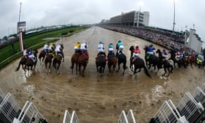 The start of Saturday's Kentucky Derby in which Mendelssohn, purple colours towards the right, failed to break on level terms.
