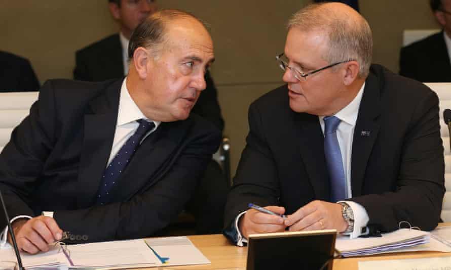 The treasury secretary, John Fraser, left, confers with the treasurer, Scott Morrison, before the Coag meeting in Sydney on Thursday.