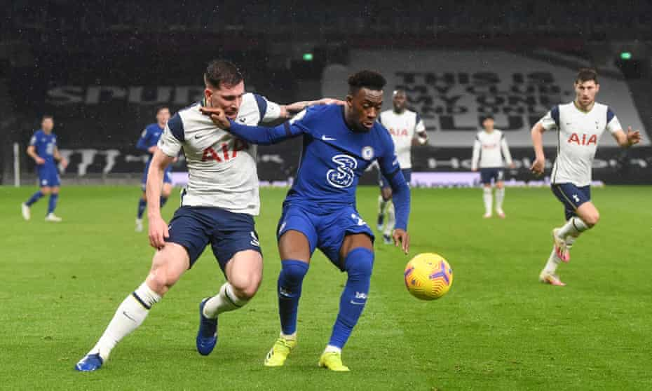 Callum Hudson-Odoi tussles with Pierre-Emile Højbjerg during Chelsea's 1-0 win at Spurs