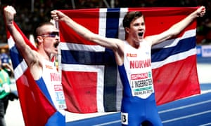 Jakob Ingebrigtsen (right) celebrates with his older brother Henrik , who finishes second in the men's 5,000m final.