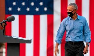 Former US president Barack Obama at a drive-in rally in Philadelphia, Pennsylvania.