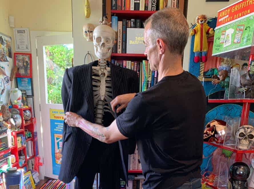 Andy Griffiths, pictured here with Nick Cave's old suit dressed on a skeleton