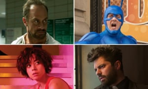 Hitting the right notes: (from left) Christopher Meloni in Happy!, Peter Serafinowicz in The Tick, Dominic Cooper in The Preacher, and Aubrey Plaza in Legion
