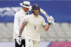 Stokes celebrates after reaching 50.