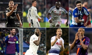 Clockwise from top left: Dusan Tadic of Ajax, Juventus's Cristiano Ronaldo, Sadio Mané of Liverpool, Porto's Alex Telles, Manchester City's Fernandinho, Harry Kane of Tottenham, Manchester United's Romelu Lukaku and Barcelona's Lionel Messi.