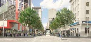 An artist's impression of proposed changes to Elizabeth Street as viewed from Latrobe Street. Traffic lanes have been removed and replaced with wide footpaths leading up to wheelchair-accessible tram stops.