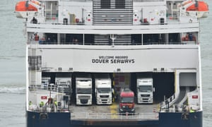 Lorries onboard a ferry at Dover.