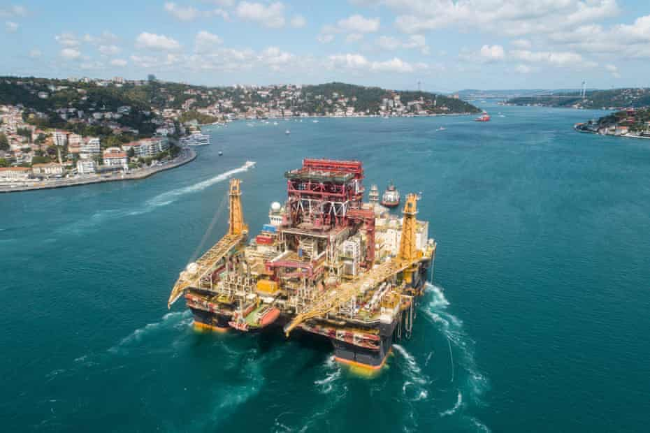 An aerial view of Scarabeo 9, a 115-meter-long and 84-meter-high drilling rig, passing through the Bosphorus Strait in Istanbul, Turkey on 29 August 2019.