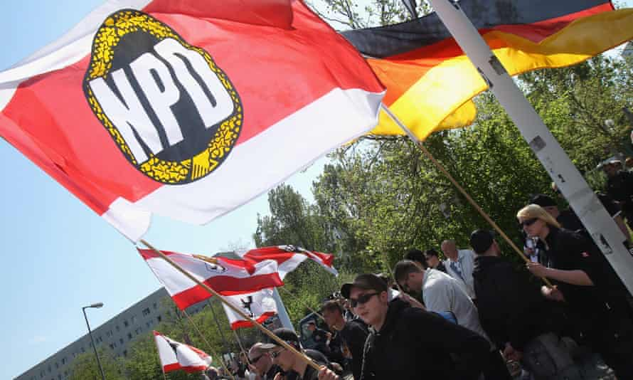 Supporters of the far-right anti-immigration NPD party in Berlin.