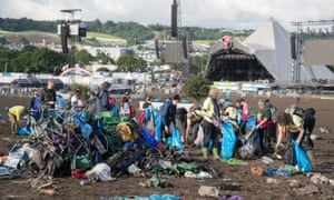 The clear-up begins after Glastonbury 2016 at Worthy Farm.