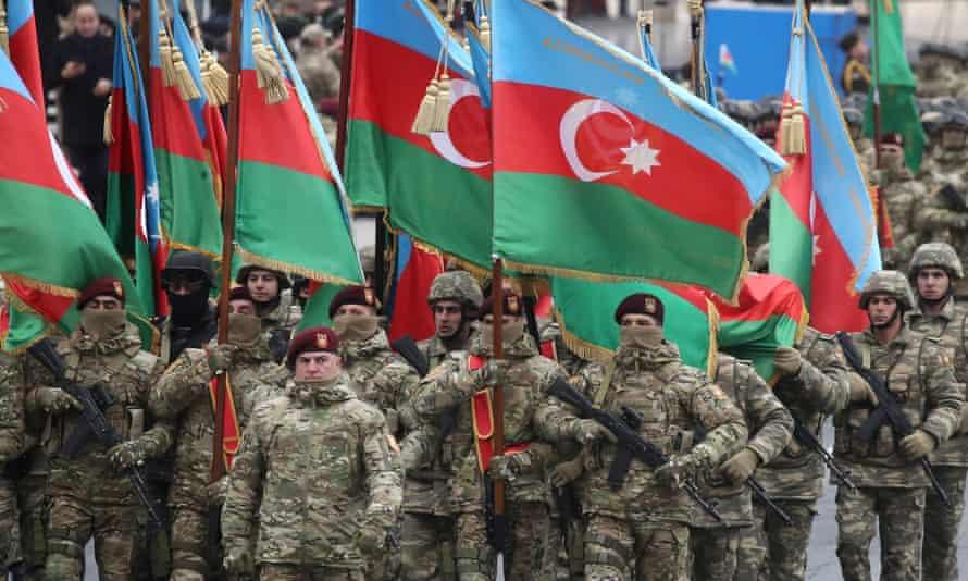Azerbaijani servicemen at a military parade marking the end of the Nagorno-Karabakh military conflict.