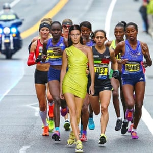 Bella Hadid 'running' a marathon … the work of @siduations.