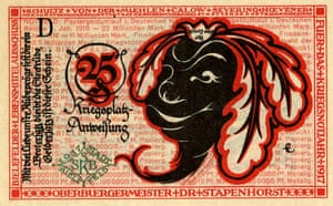 A 25 pfennig 'turnip' Notgeld note from Bielefeld, 1917, depicting a turnip wearing a crown