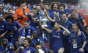 The Chelsea players celebrate after winning the FA Cup.