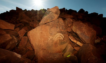Two of the more than 1m catalogued petroglyphs on the Burrup peninsula and Dampier archipelago.