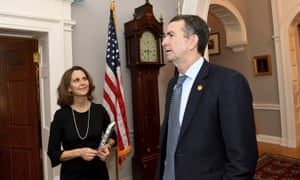 Ralph Northam and Pamela Northam at the governor's mansion on 9 February 2019 in Richmond, Virginia.