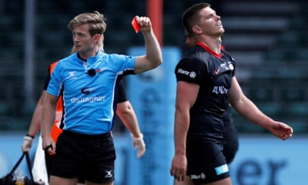 Saracens' Owen Farrell is sent off for a late tackle on Wasps' Charlie Atkinson on Saturday, and has now been banned for five games.