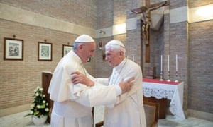 Pope Benedict XVI (r) at the Vatican in 2017 with Pope Francis